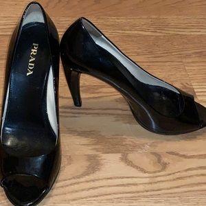 Authentic Prada Black Peep Toe Stiletto Heel